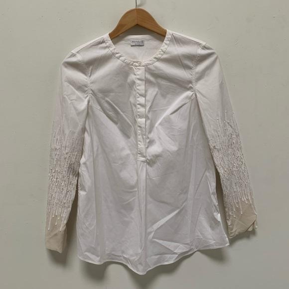Brunello Cucinelli Tops - Brunello Cucinelli white button down with sequin